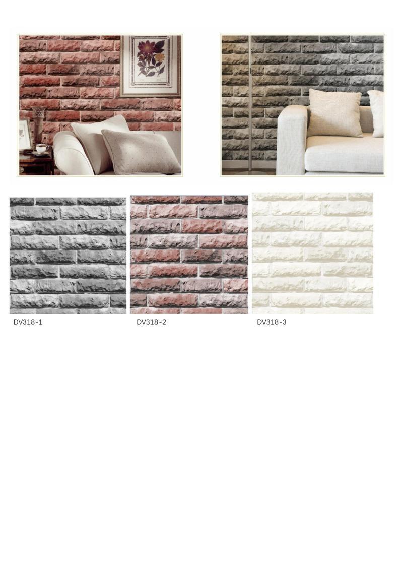 wallpaper batu bata ruang tamu