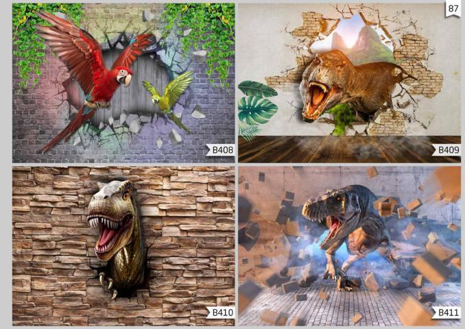 jual wallpaper custom 3d motif dinosaurus