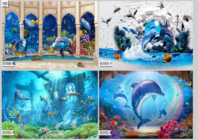 jual wallpaper custom 3d motif ikan hiu