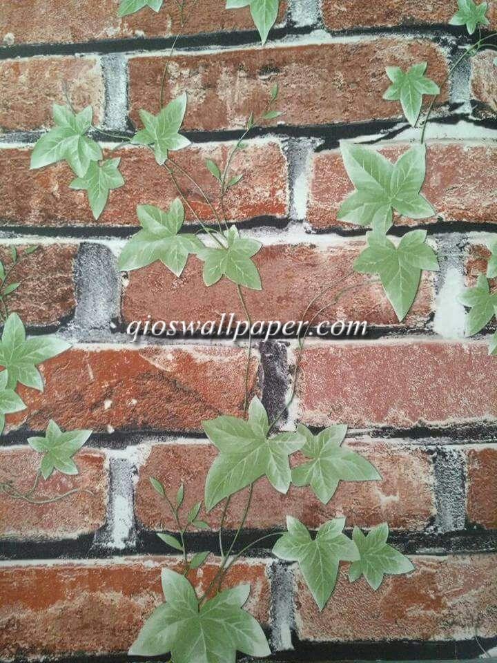 wallpaper ruang tamu batu bata natural
