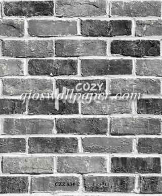 toko jual wallpaper dinding motif batu bata abu abu