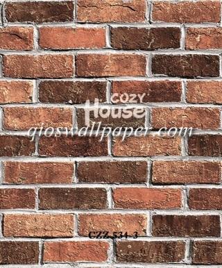 toko jual wallpaper dinding motif batu bata coklat