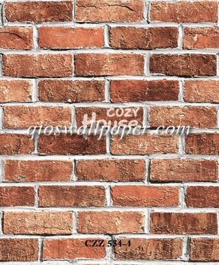 toko jual wallpaper dinding motif batu bata merah