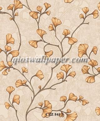 toko wallpaper dinding kamar motif daun ulir gold