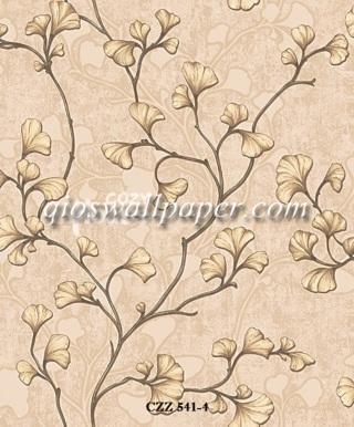 toko wallpaper dinding kamar motif daun ulir coklat