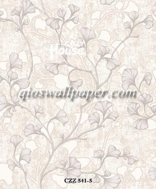 toko wallpaper dinding kamar motif daun ulir abu abu