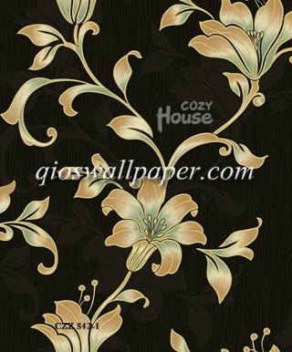 toko wallpaper dinding kamar motif daun ulir hitam