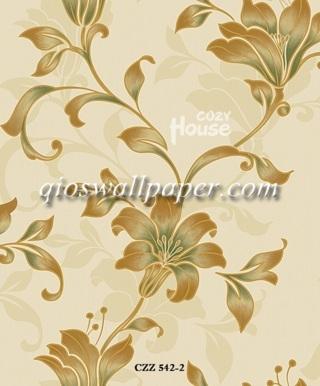 toko wallpaper dinding kamar motif daun ulir hijau