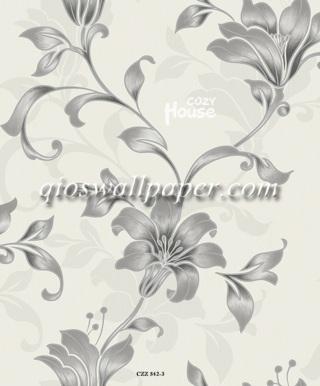 toko wallpaper dinding kamar motif daun ulir abu