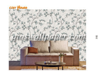 wallpaper dinding motif daun rambat krem