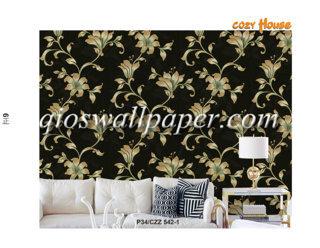 wallpaper dinding motif daun rambat hitam