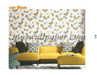 wallpaper dinding motif daun merak