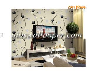 wallpaper dinding motif daun hitam