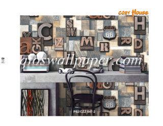 wallpaper dinding motif abjad 3d