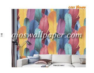 wallpaper dinding motif bulu