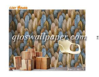 wallpaper dinding motif bulu coklat