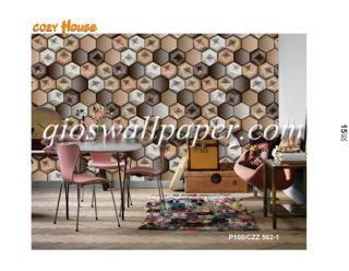 jual wallpaper dinding motif aesthetik segi enam 3d