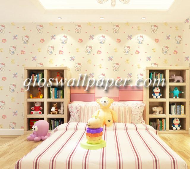 wallpaper dinding kamar tidur hello kitty