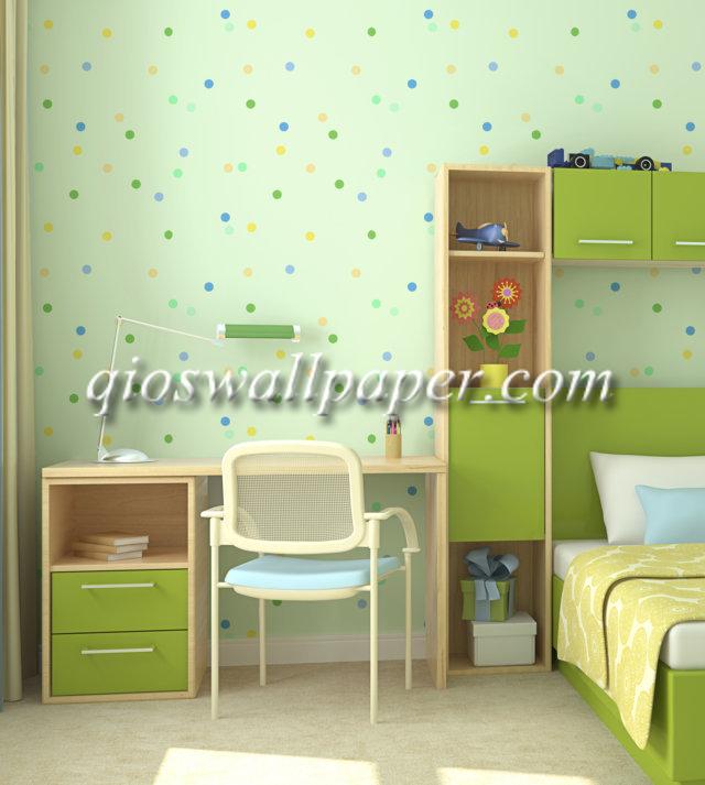 wallpaper ruang anak polkadot