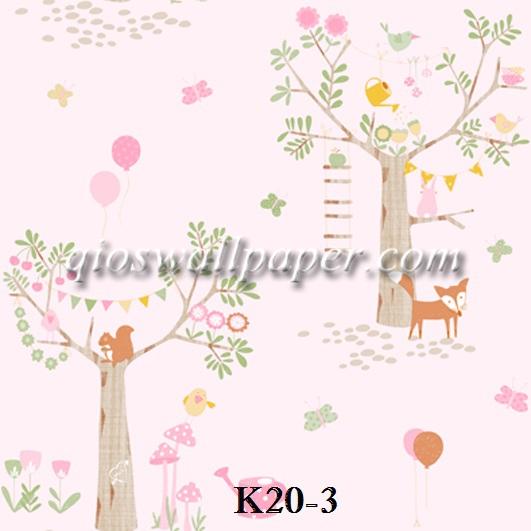 wallpaper ruang anak bunga pink