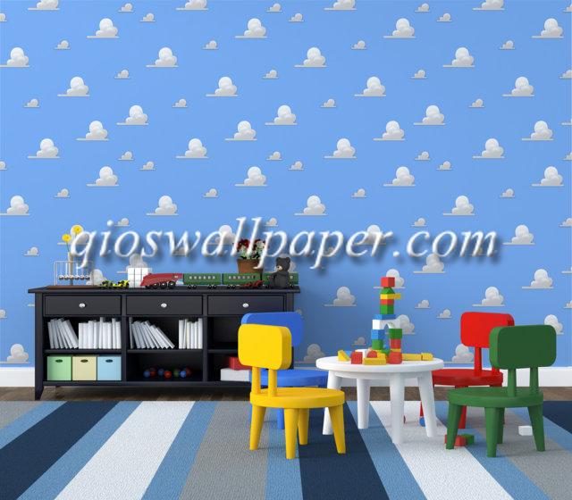 wallpaper dinding kamar tidur awan biru