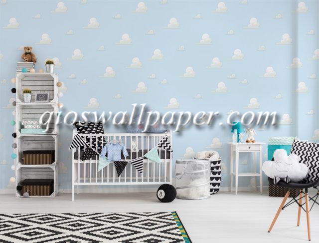 wallpaper dinding kamar tidur awan warna