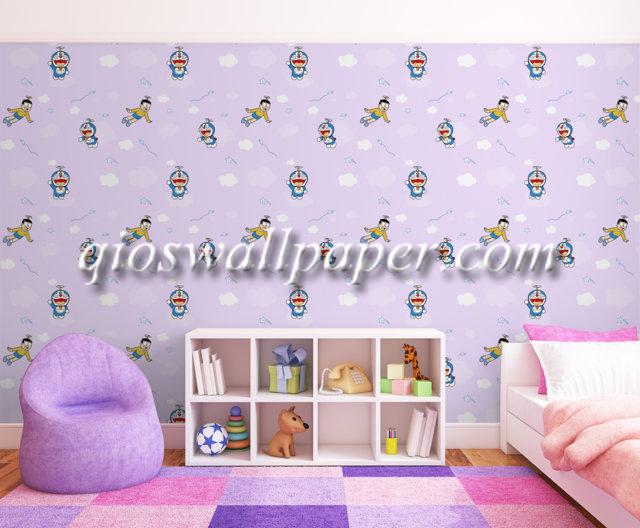 wallpaper dinding kamar tidur doraemon ungu