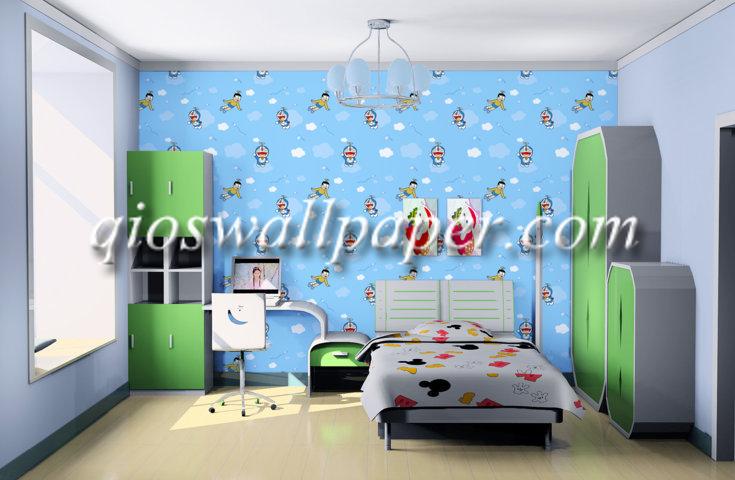 wallpaper dinding kamar tidur doraemon
