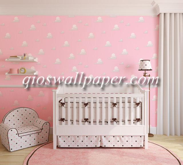 wallpaper dinding kamar tidur awan pink