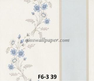 wallpaper dinding motif shabby chic garis biru