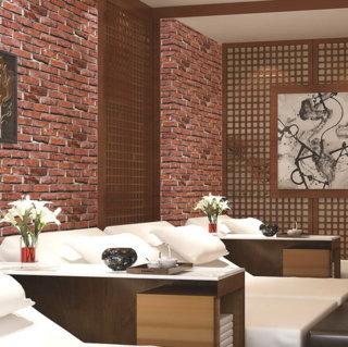 wallpaper dinding batu bata merah ruang tamu