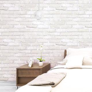 wallpaper dinding batu bata putih ruang tamu