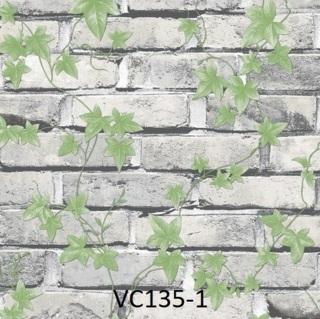 wallpaper dinding batu bata putih daun ruang tamu