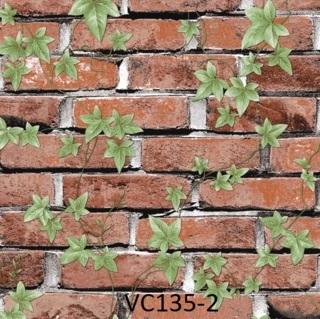 wallpaper dinding batu bata merah daun ruang tamu