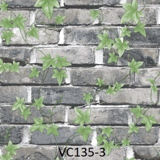 wallpaper dinding batu bata abu abu daun ruang tamu