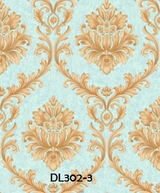 Wallpaper dinding klasik warna biru gold