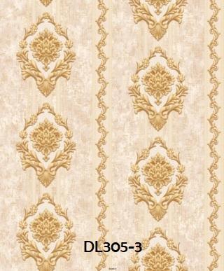 Wallpaper dinding kamar salur klasik warna gold