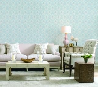 wallpaper dinding ruang tamu warna biru